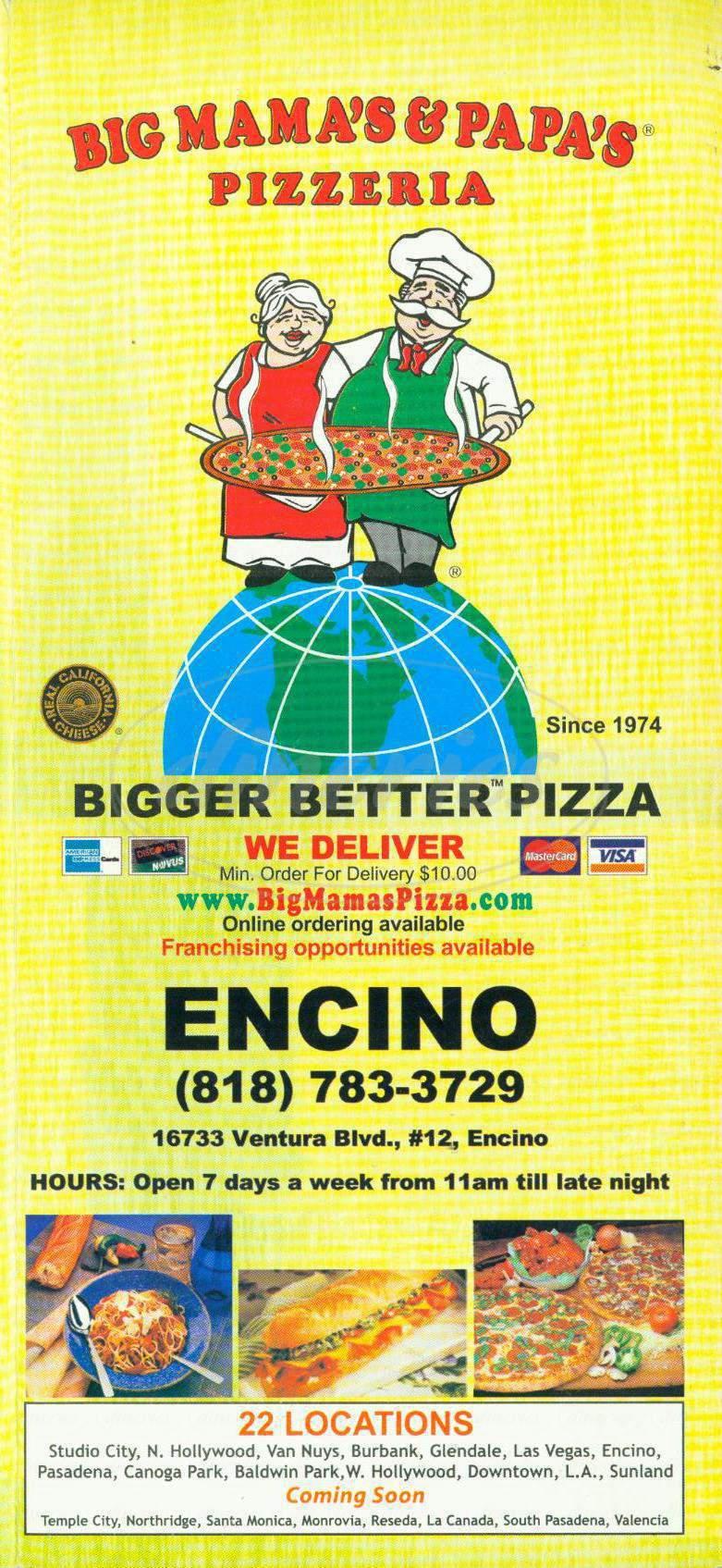 menu for Big Mama's & Papa's Pizzeria