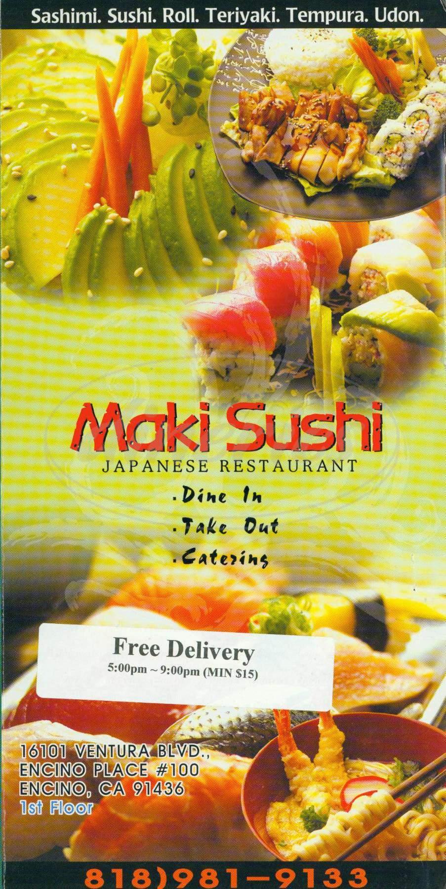 menu for Maki Sushi