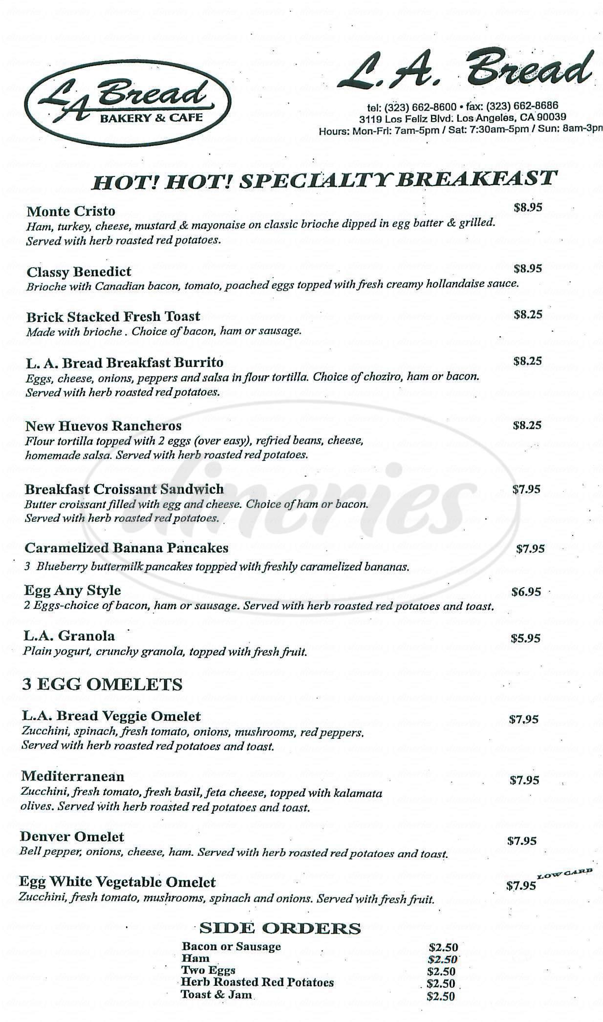 menu for LA Bread