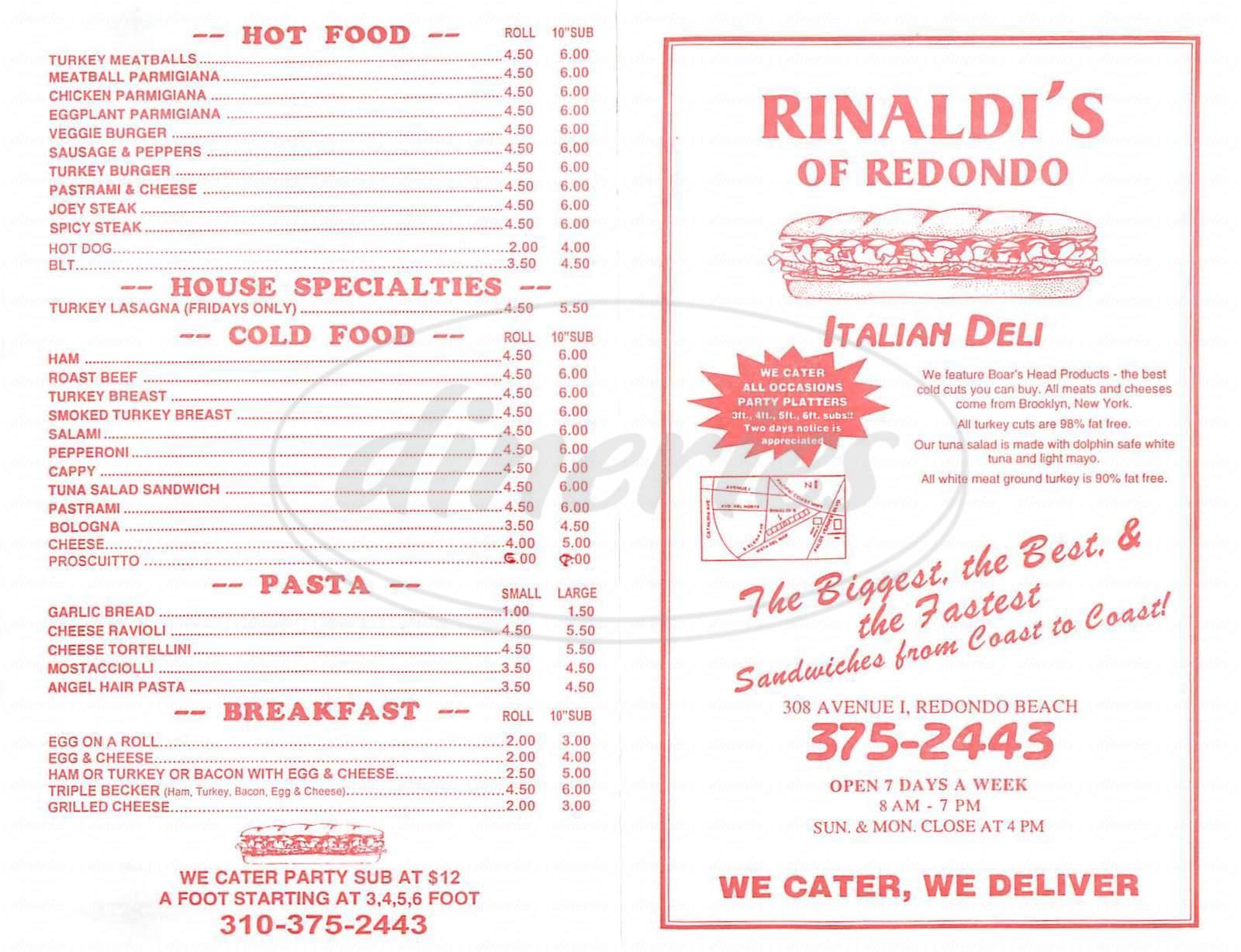 menu for Rinaldi's