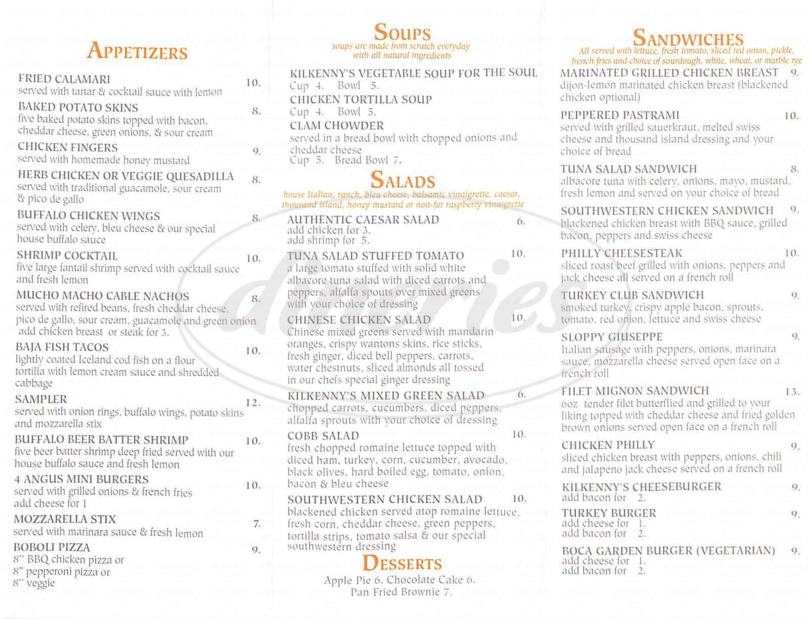 menu for Kilkenny's