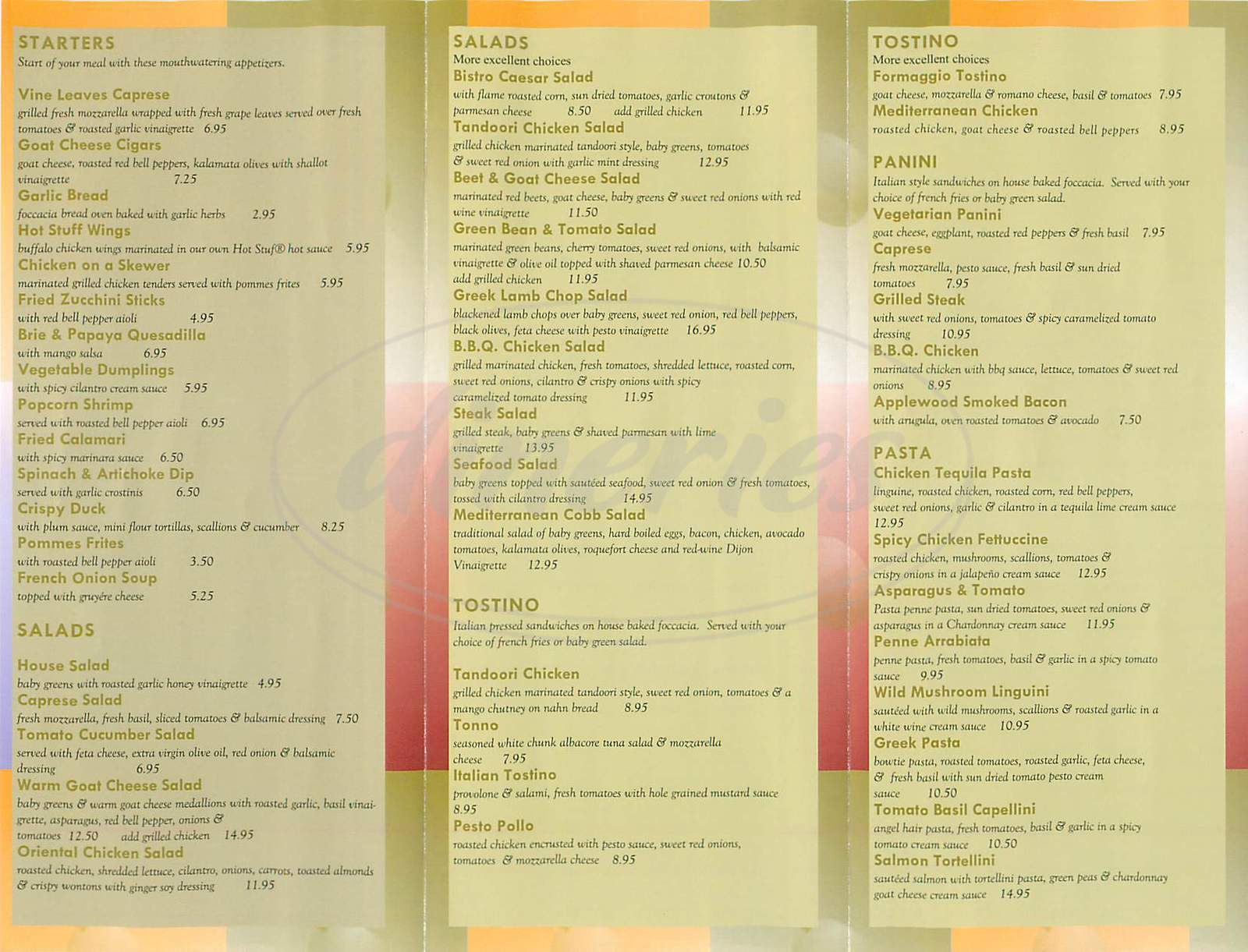 Trio mediterranean grill closed menu rolling hills for Mediterranean restaurant menu