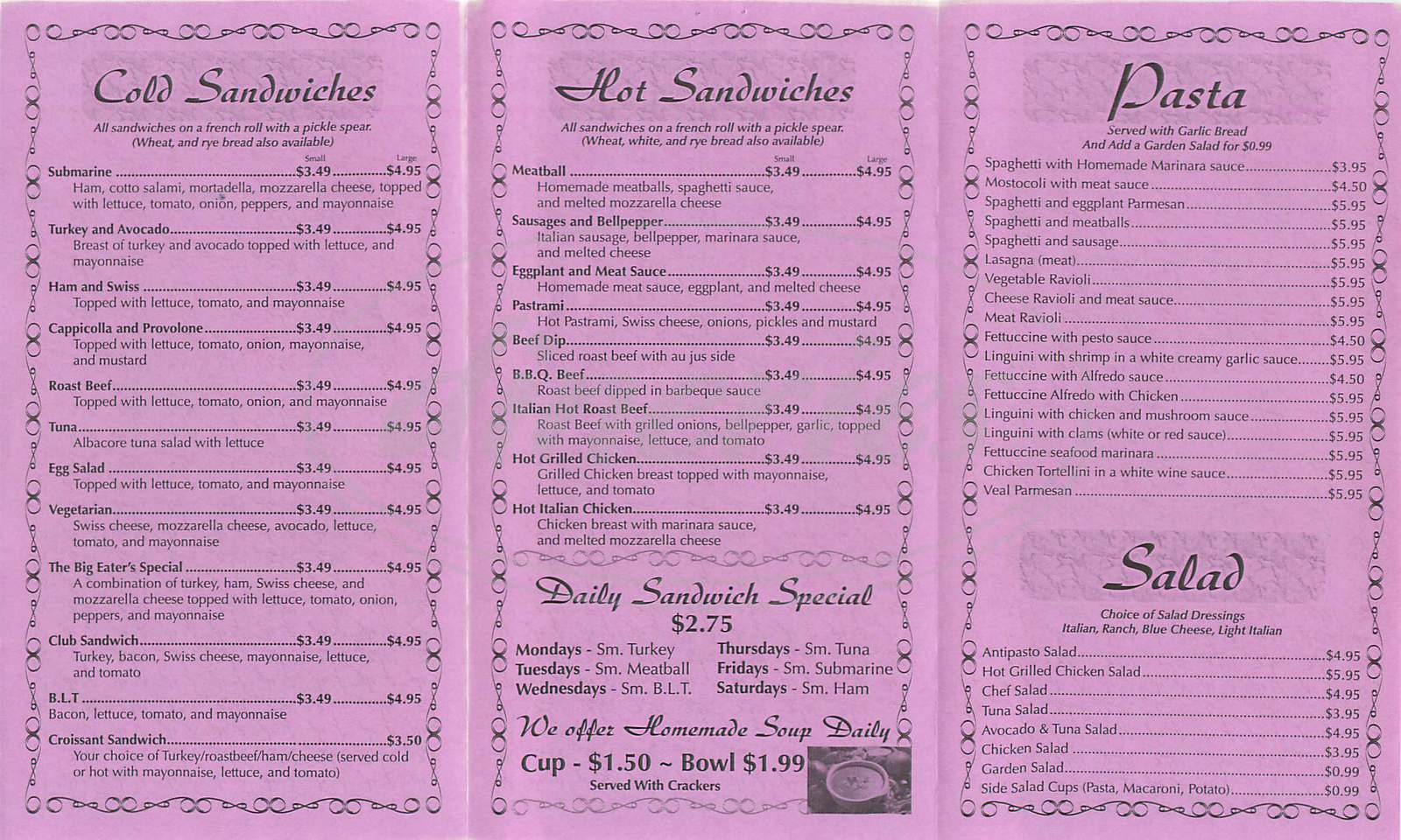 menu for D'Angelo Italian Deli