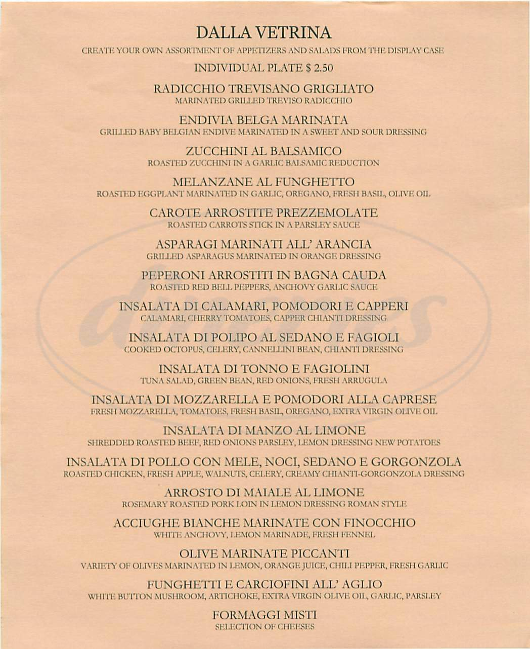 menu for Frascati Ristorante