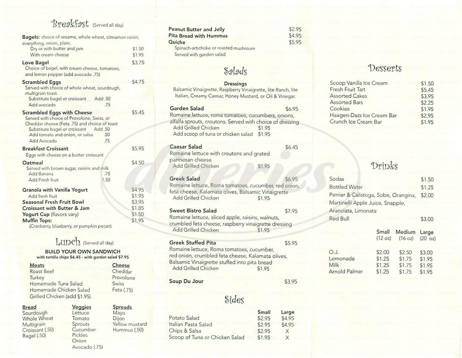 menu for Koffee Klatch