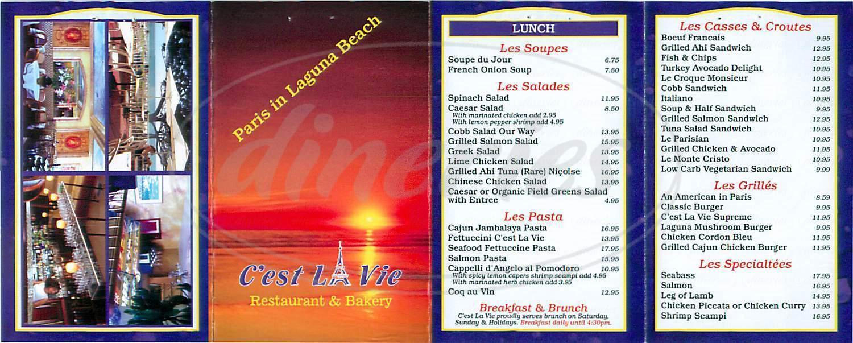 menu for C'est La Vie