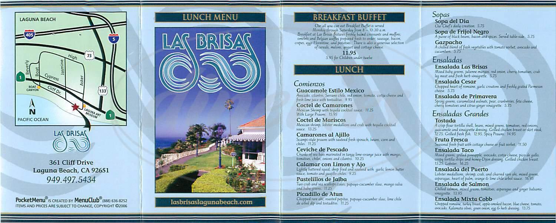 menu for Las Brisas