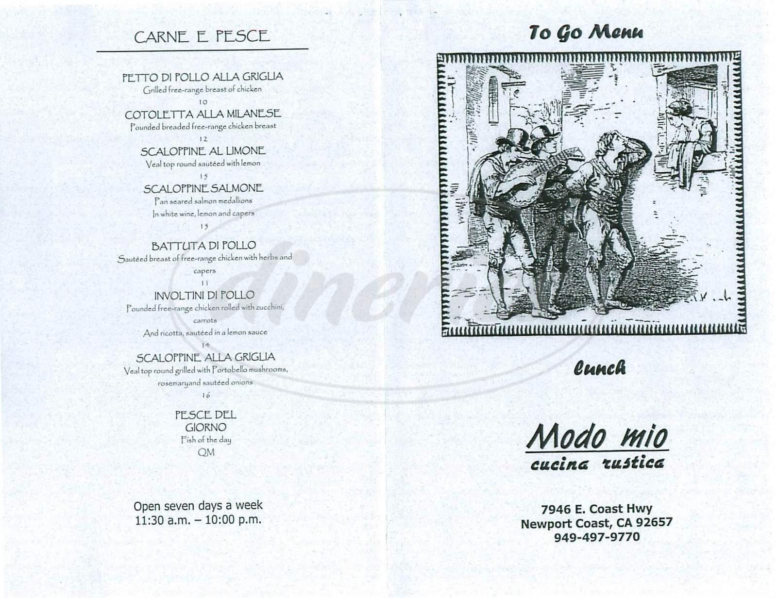 menu for Mondo Mio