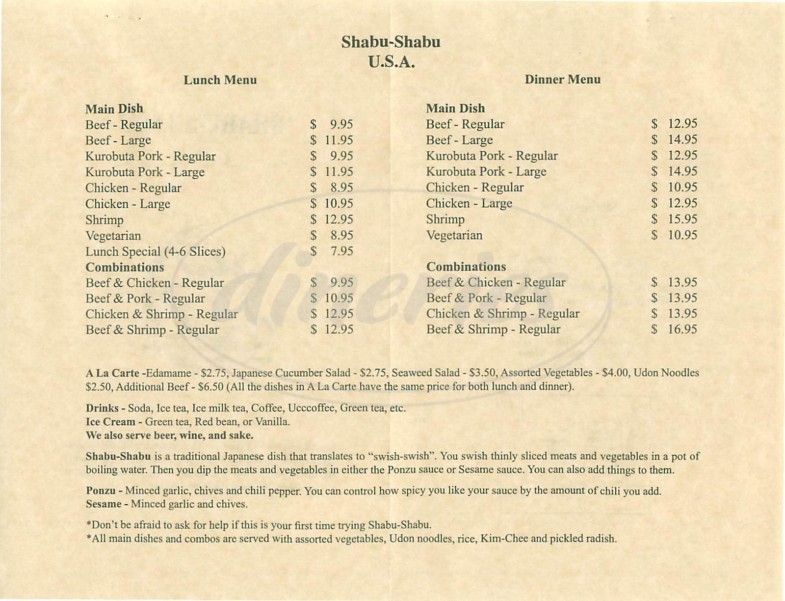 menu for Shabu Shabu USA