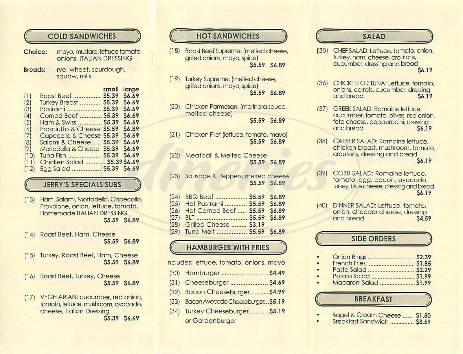 menu for Jerry's Deli