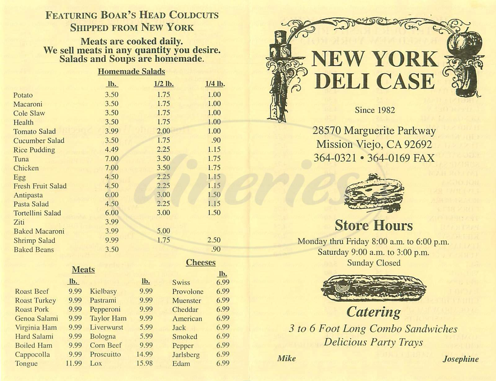 menu for New York Deli Case