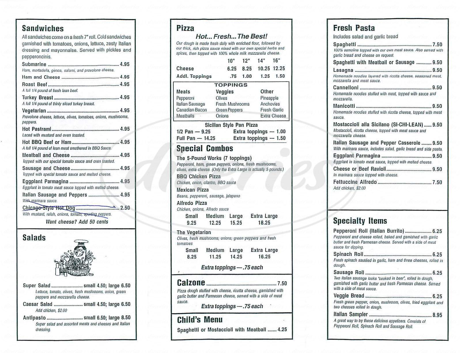 menu for The Pizza Store