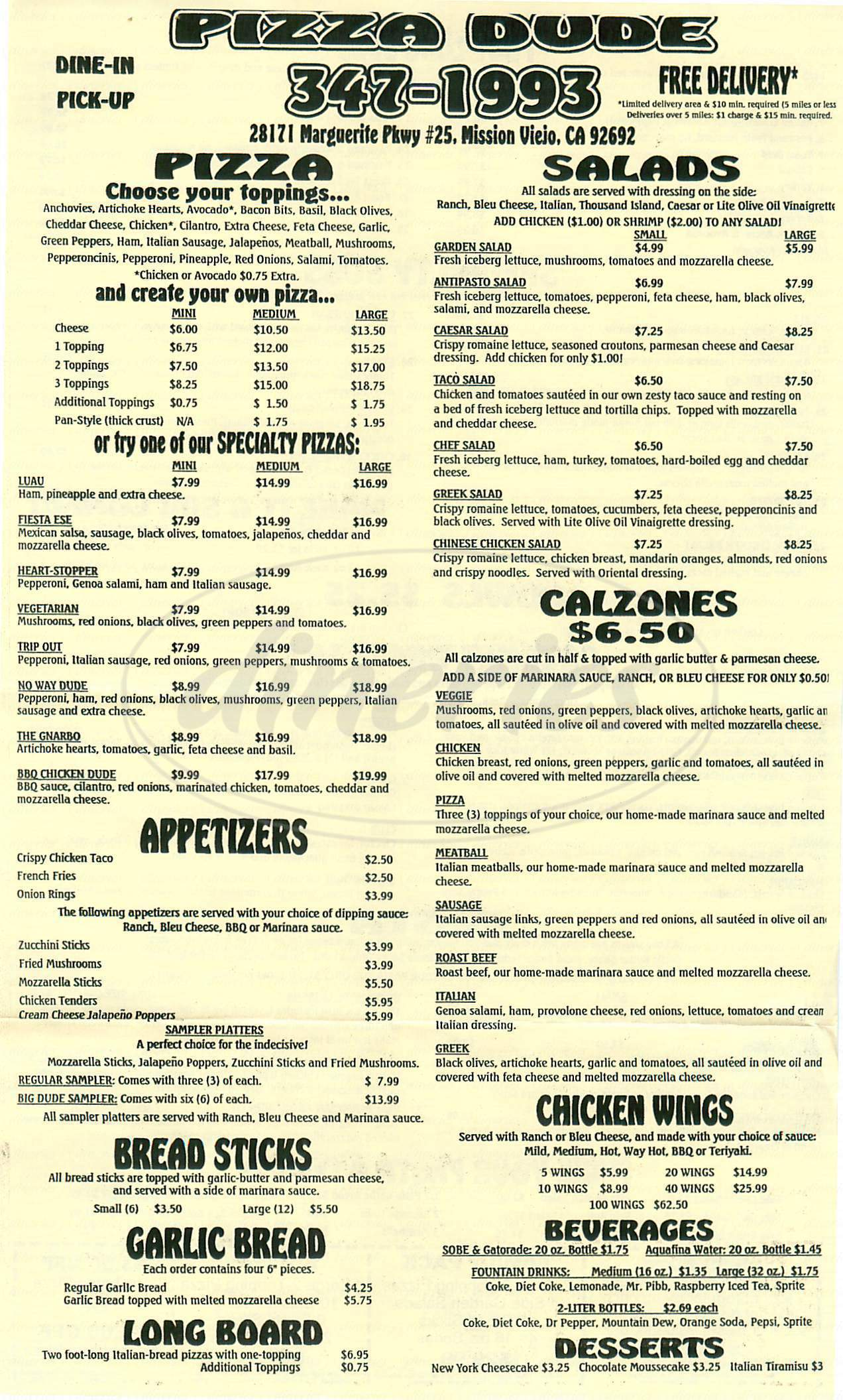 menu for Pizza Dude