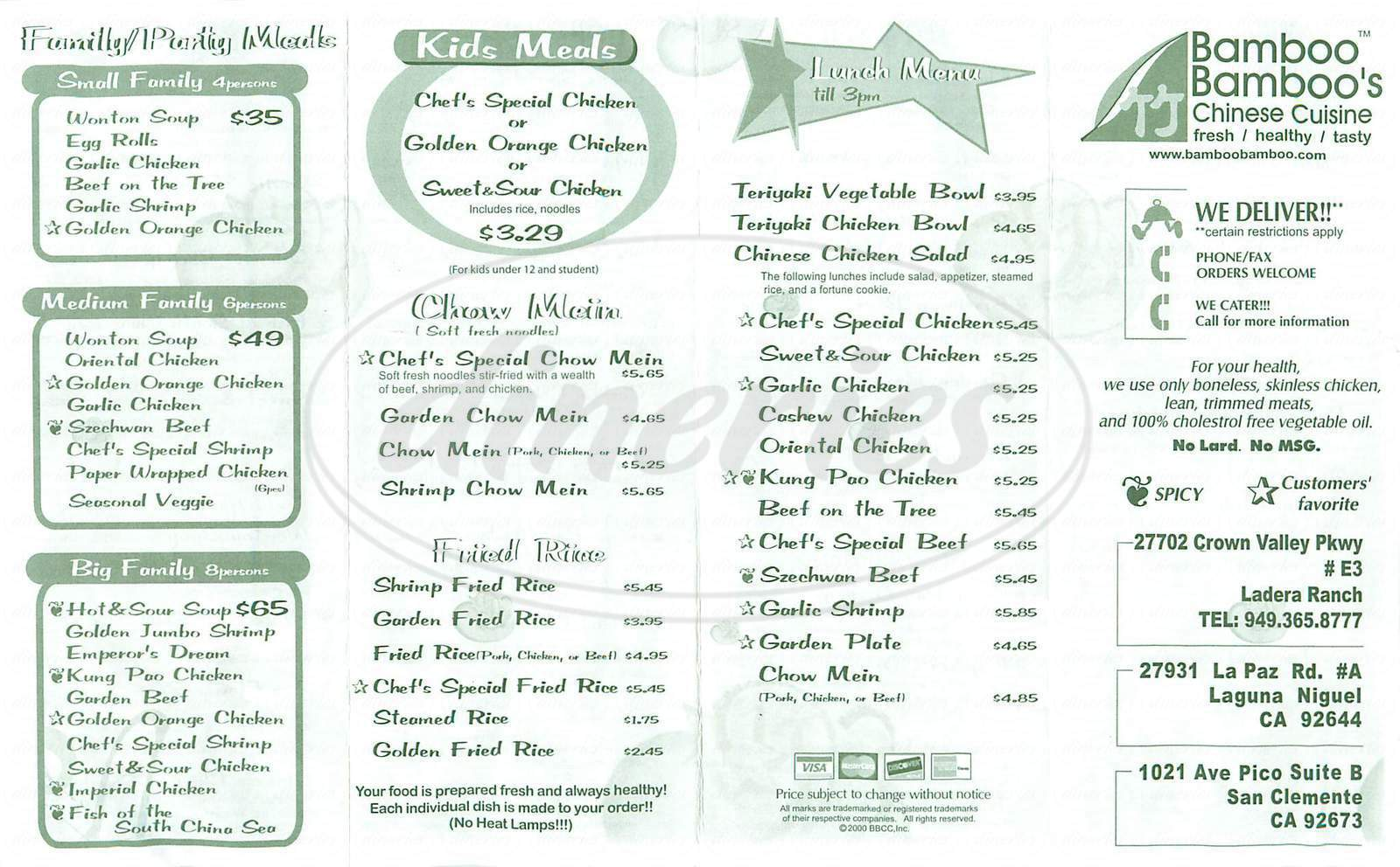 menu for Bamboo Bamboo's