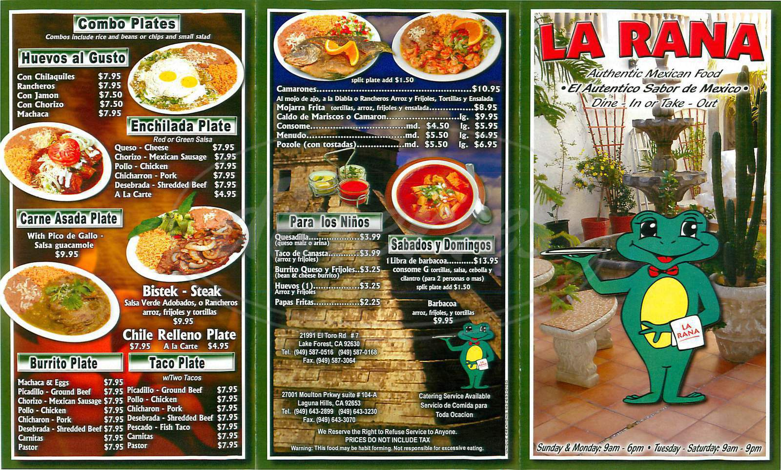 menu for La Rana