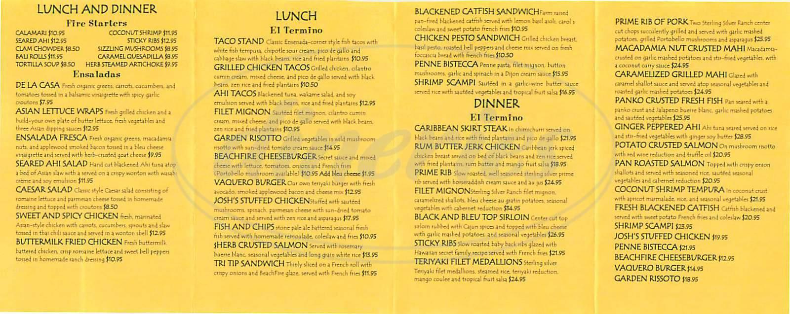 menu for Beach Fire