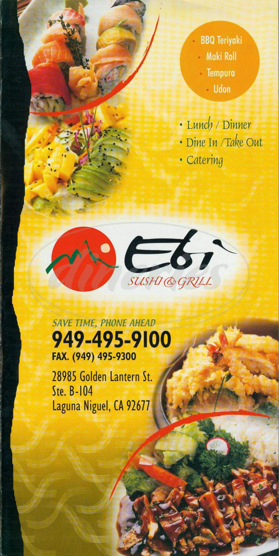 menu for Ebi Sushi & Grill