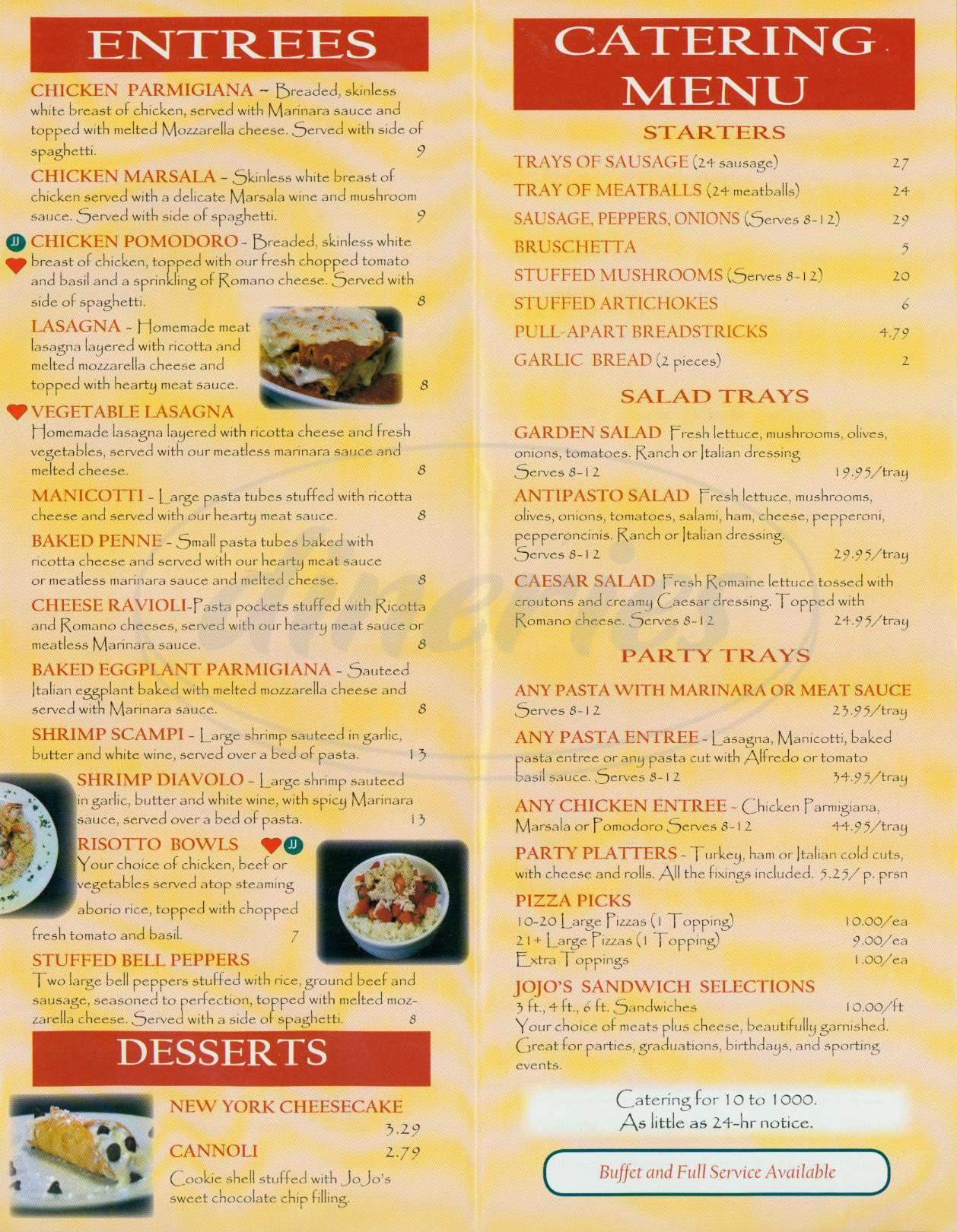 menu for JoJo's Pizza Kitchen
