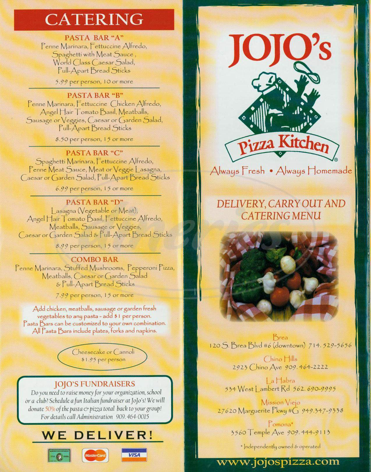 Big menu for JoJo's Pizza Kitchen, Pomona