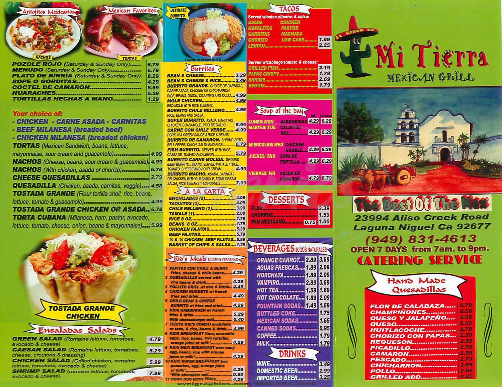 menu for Mi Tierra Mexican Grill