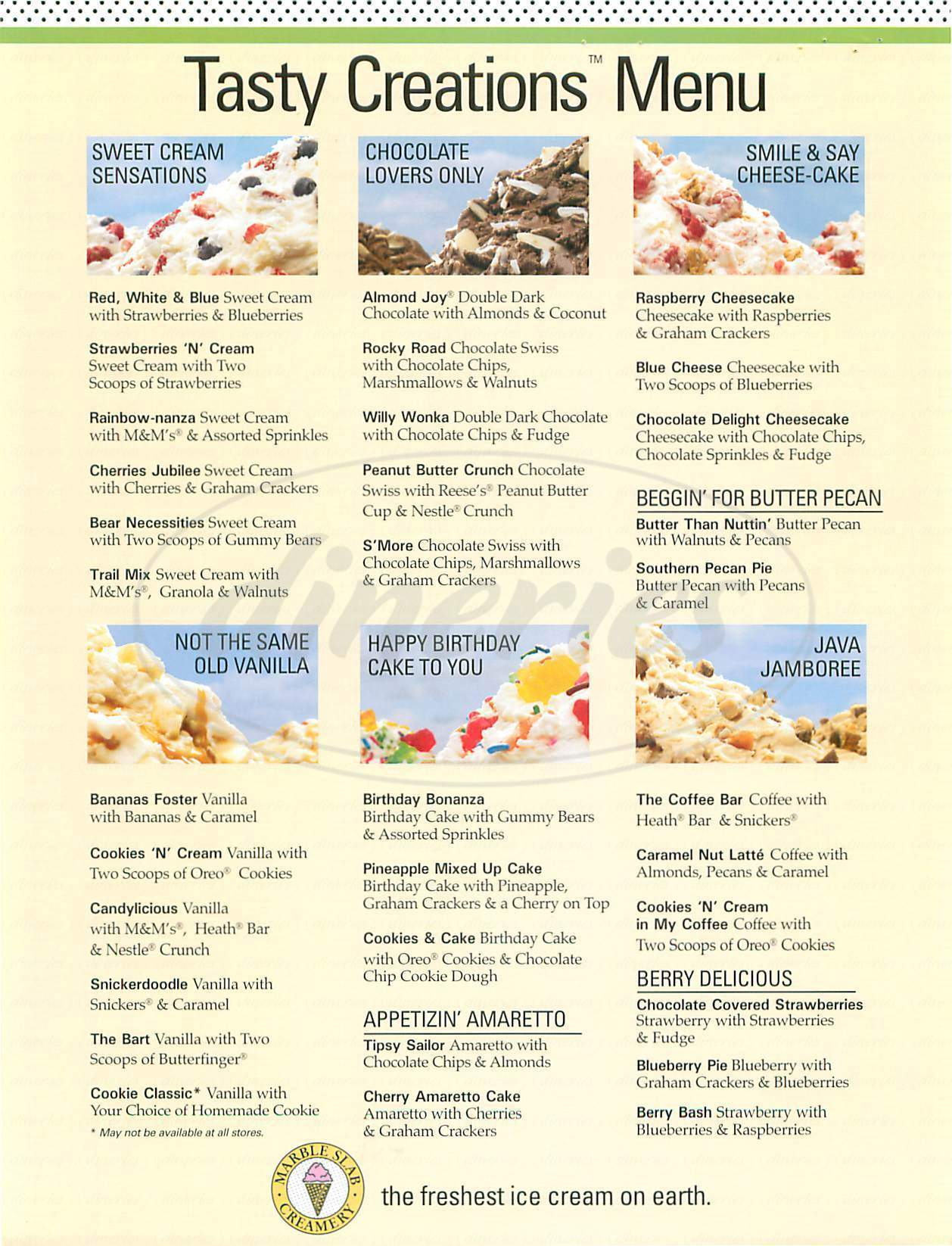 menu for Marble Slab Creamery