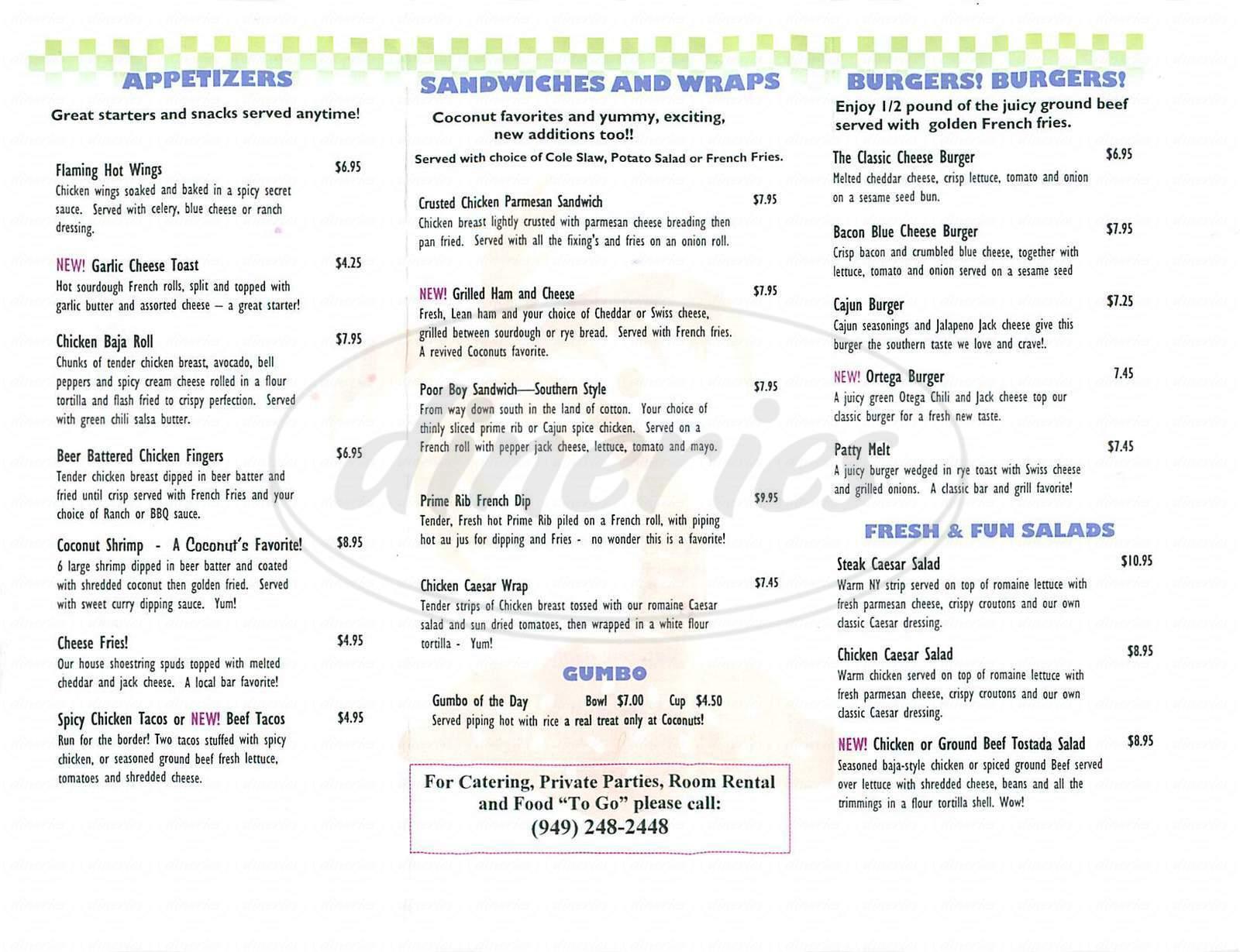 menu for Coconuts