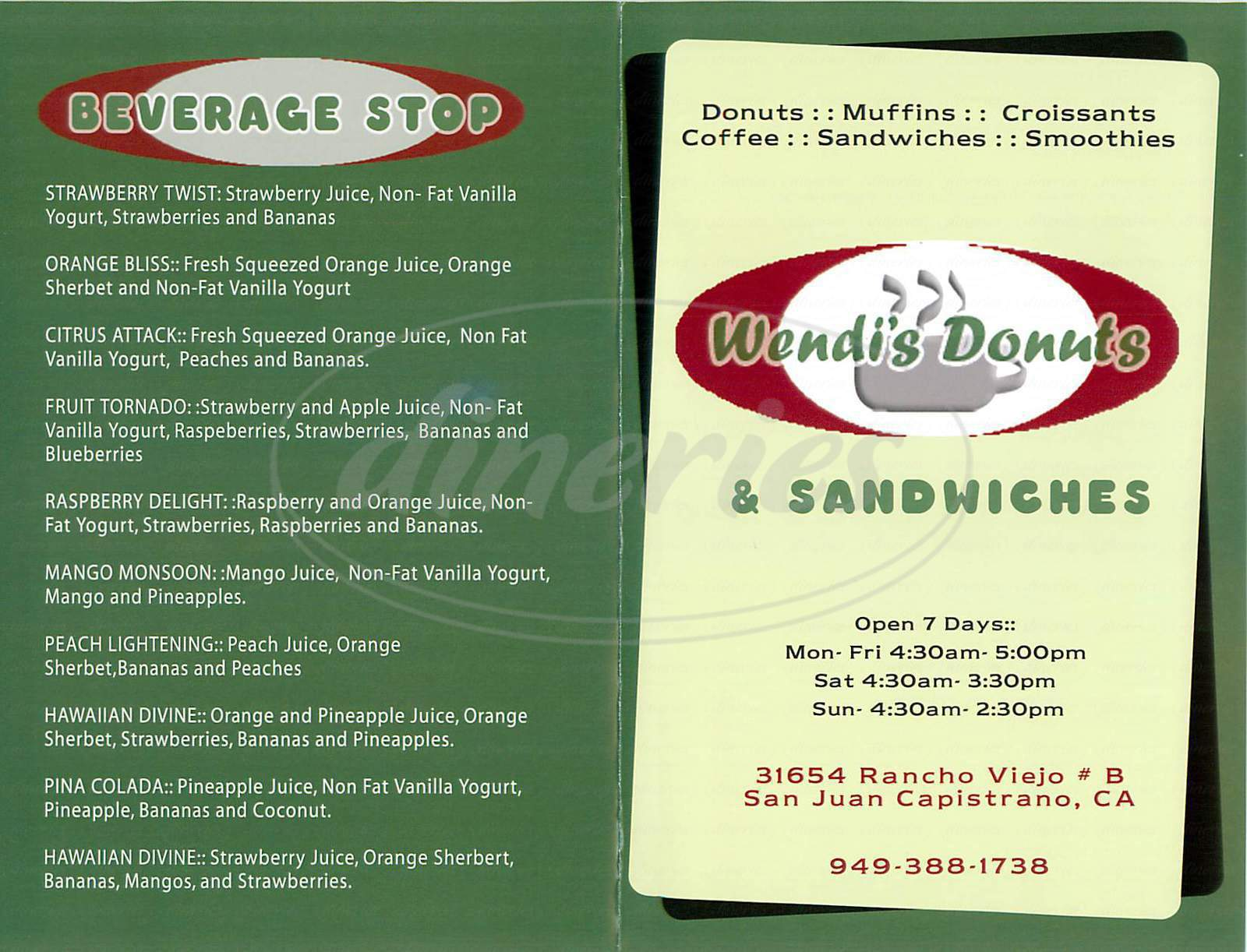menu for Wendi's Donuts