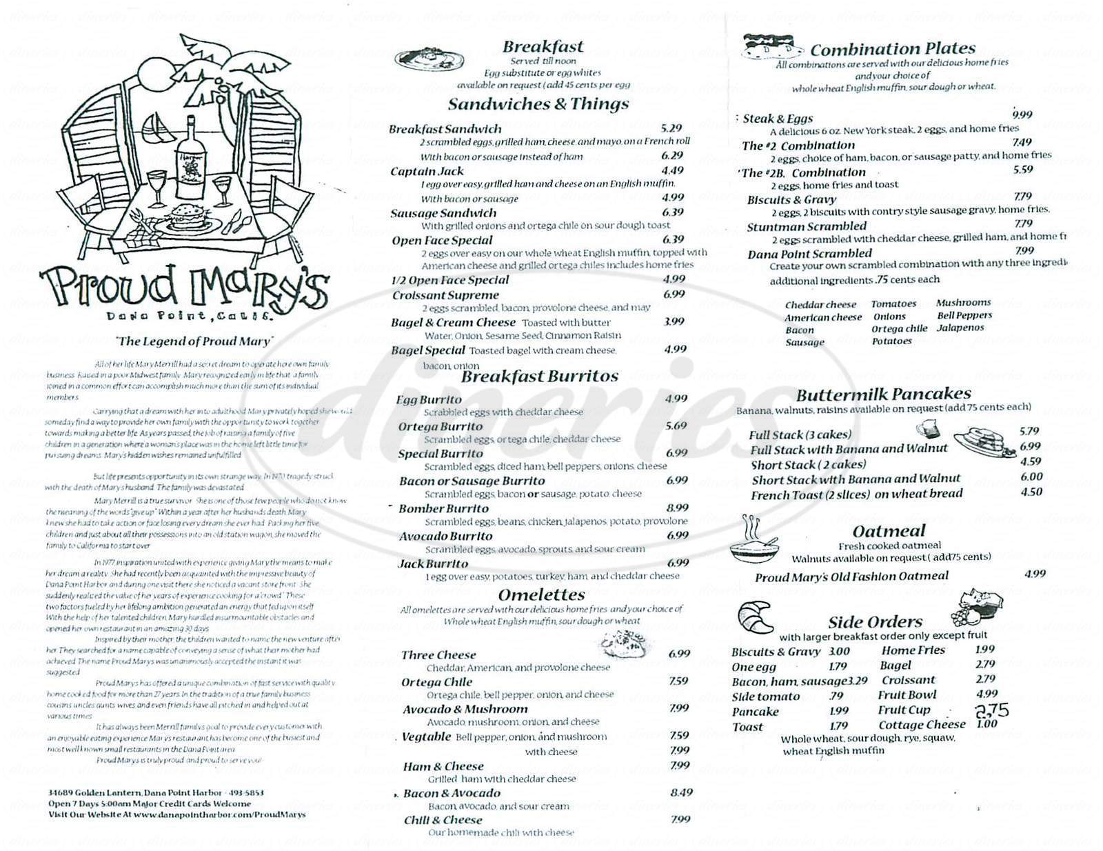 menu for Proud Mary's