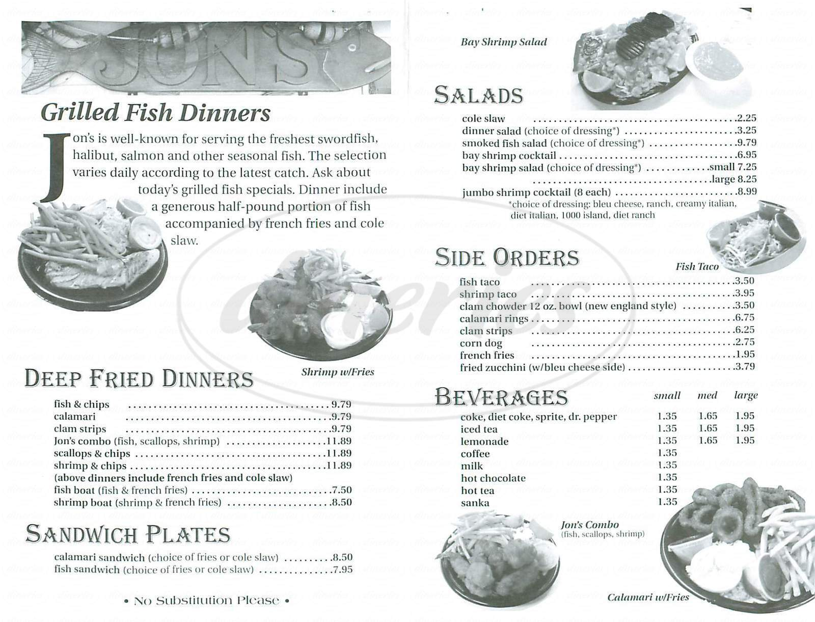 menu for Jon's