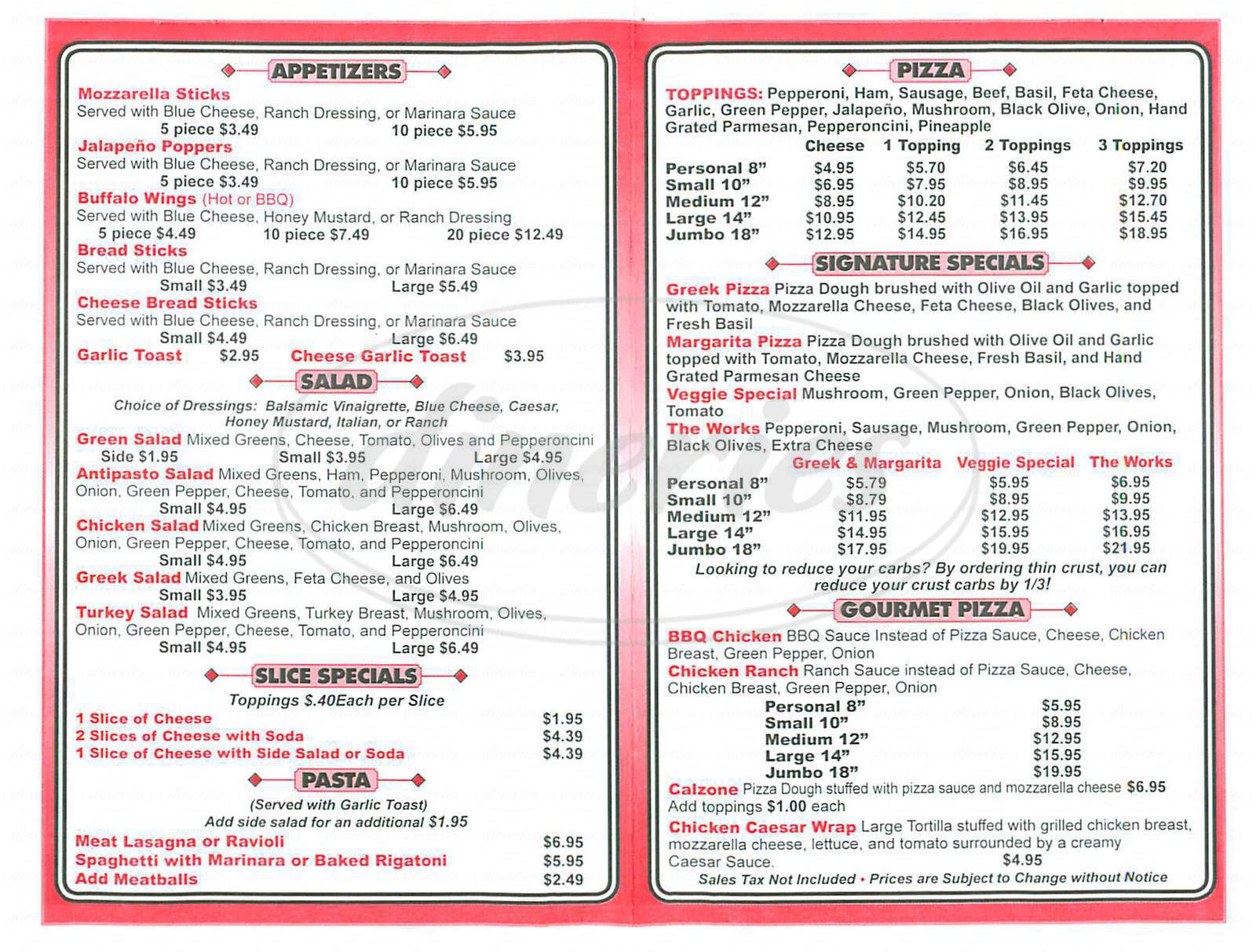 menu for Cucina Pizzeria
