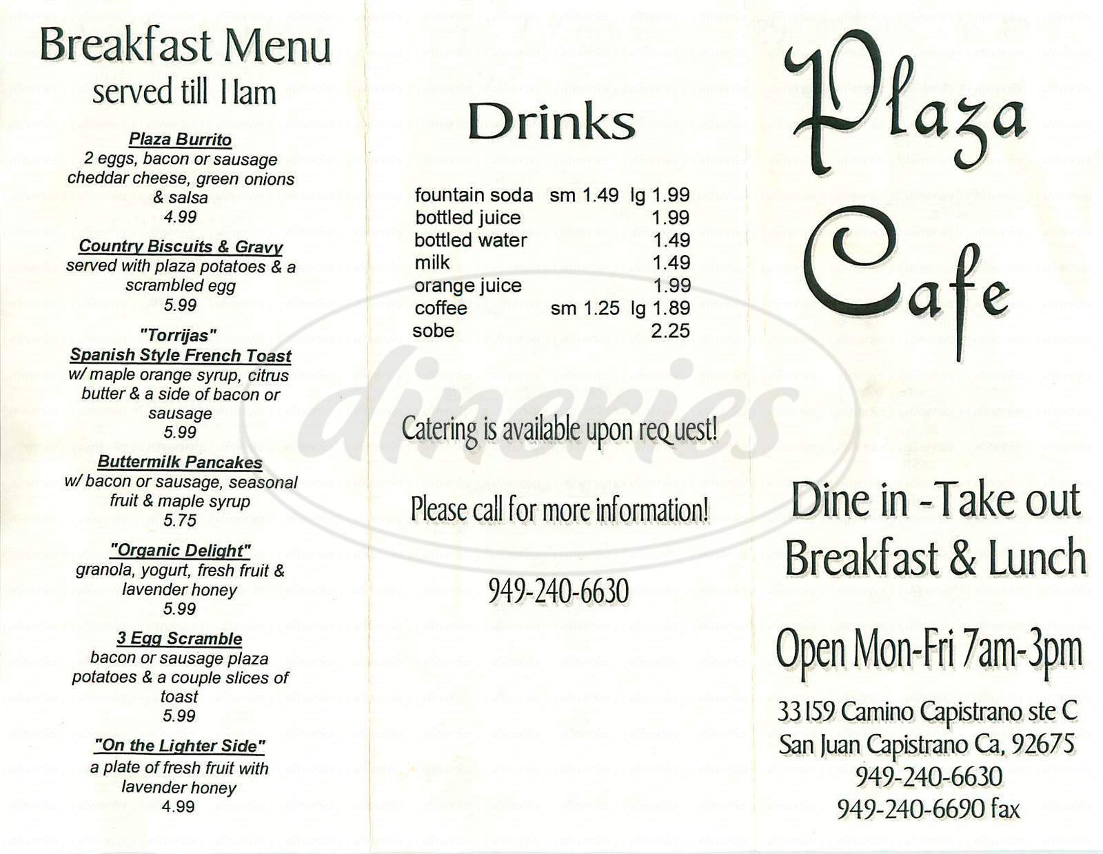 menu for Plaza Cafe