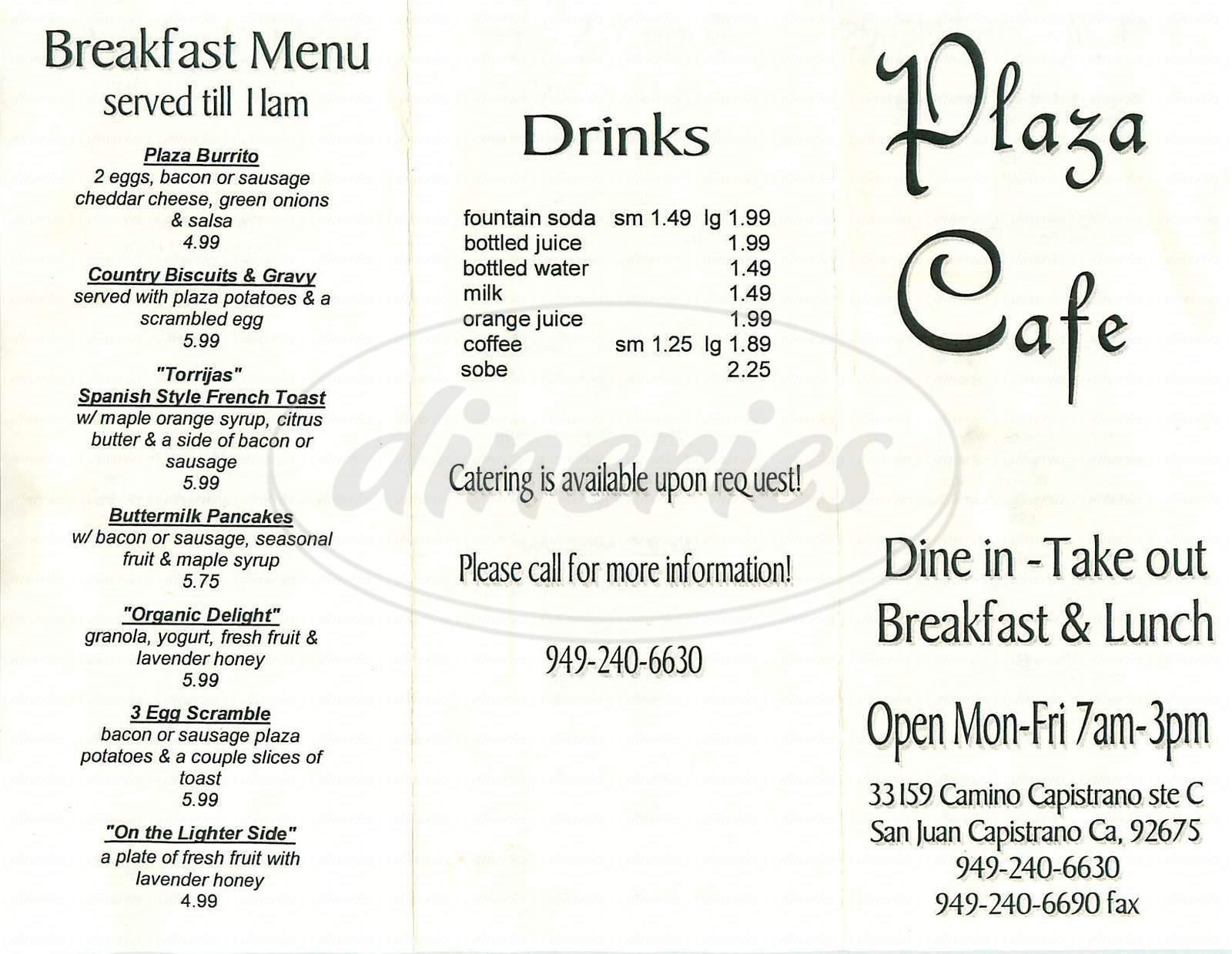 menu for Plaza Cafe