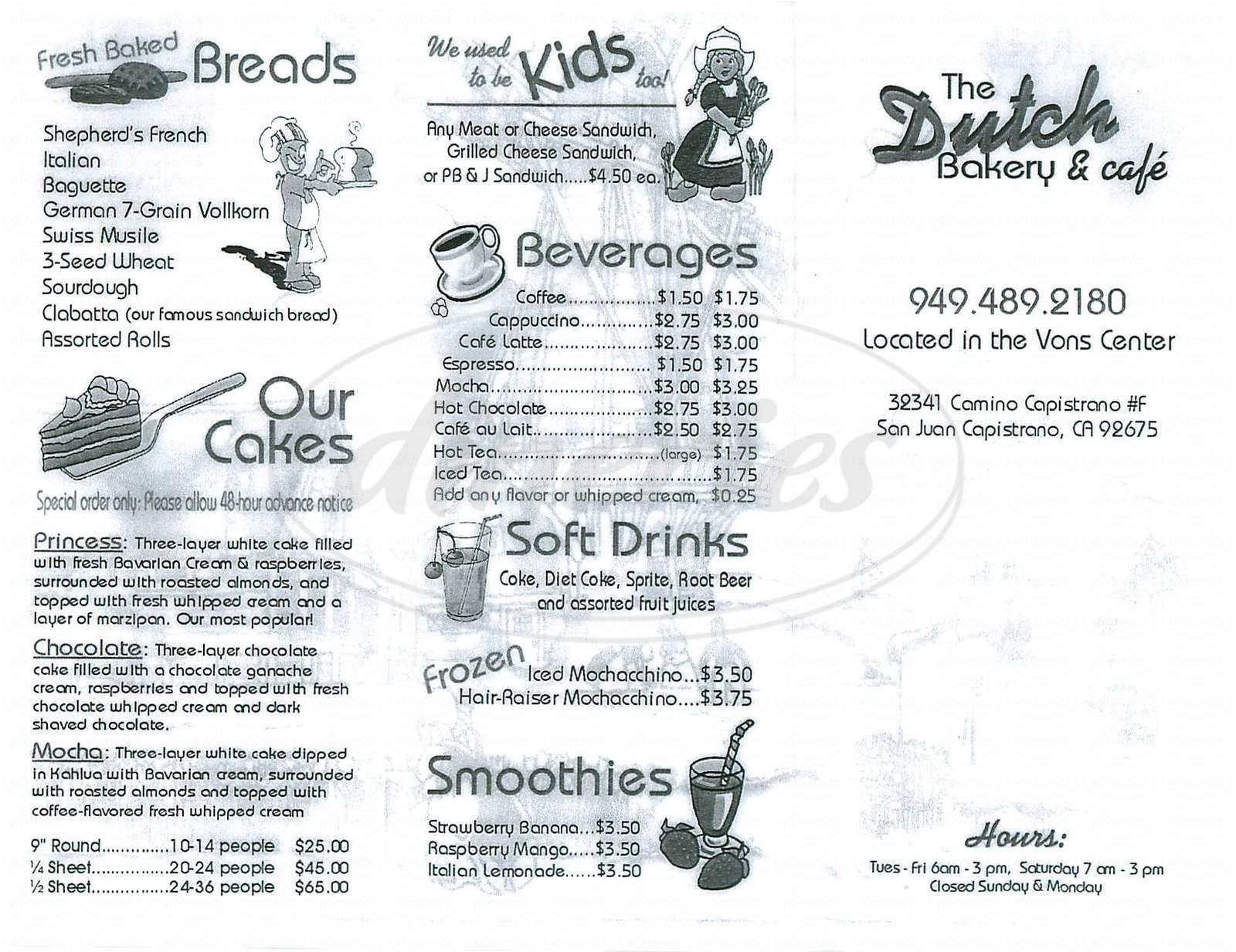 menu for The Dutch Bakery & Cafe