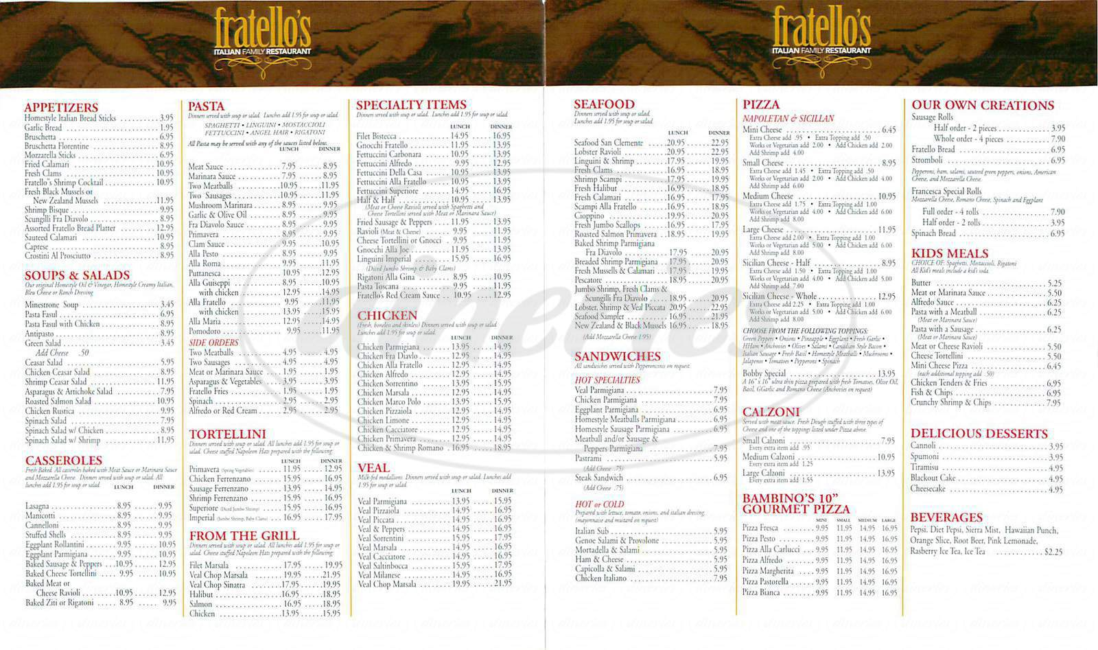 menu for Fratello's Italian Restaurant