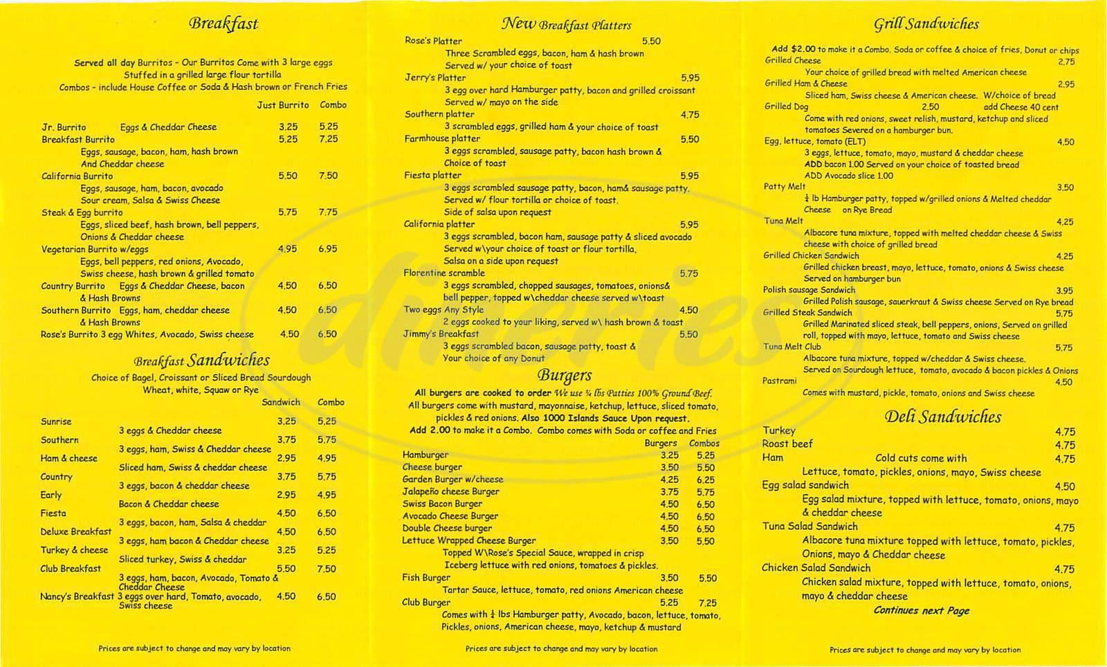 menu for Rose Cafe