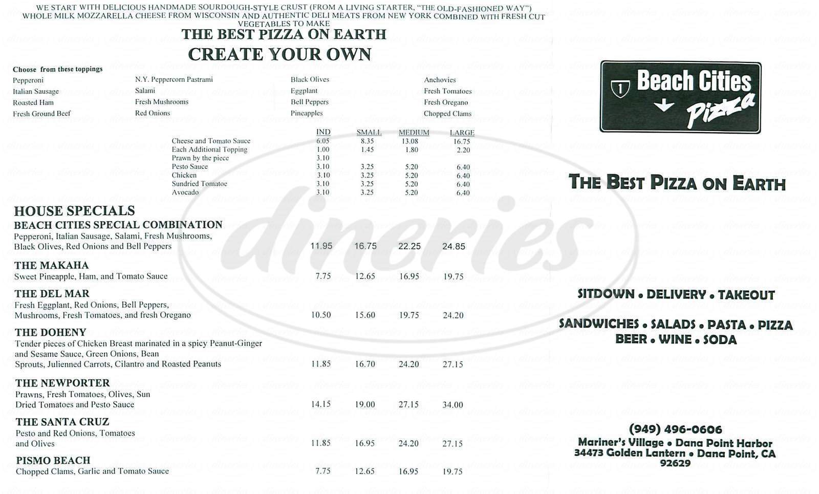 menu for Beach Cities Pizza