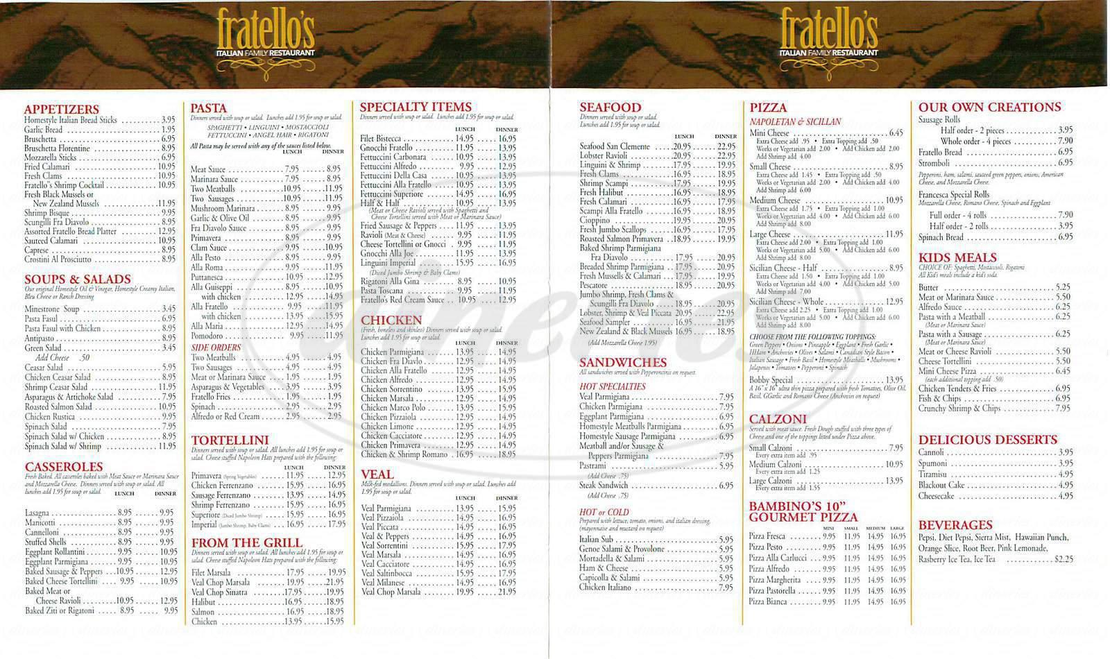 menu for Fratello's Italian Restaurant