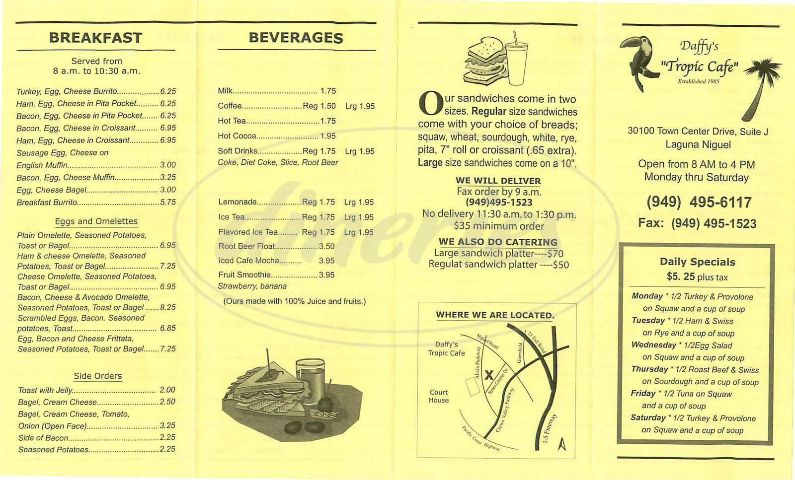 menu for Daffy's Tropic Cafe