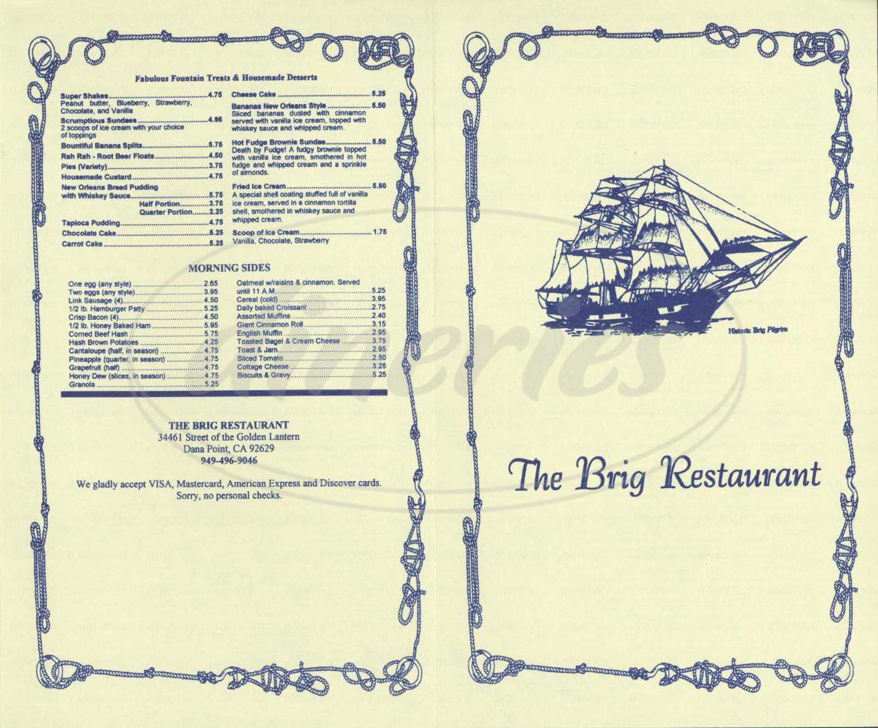 menu for The Brig Restaurant