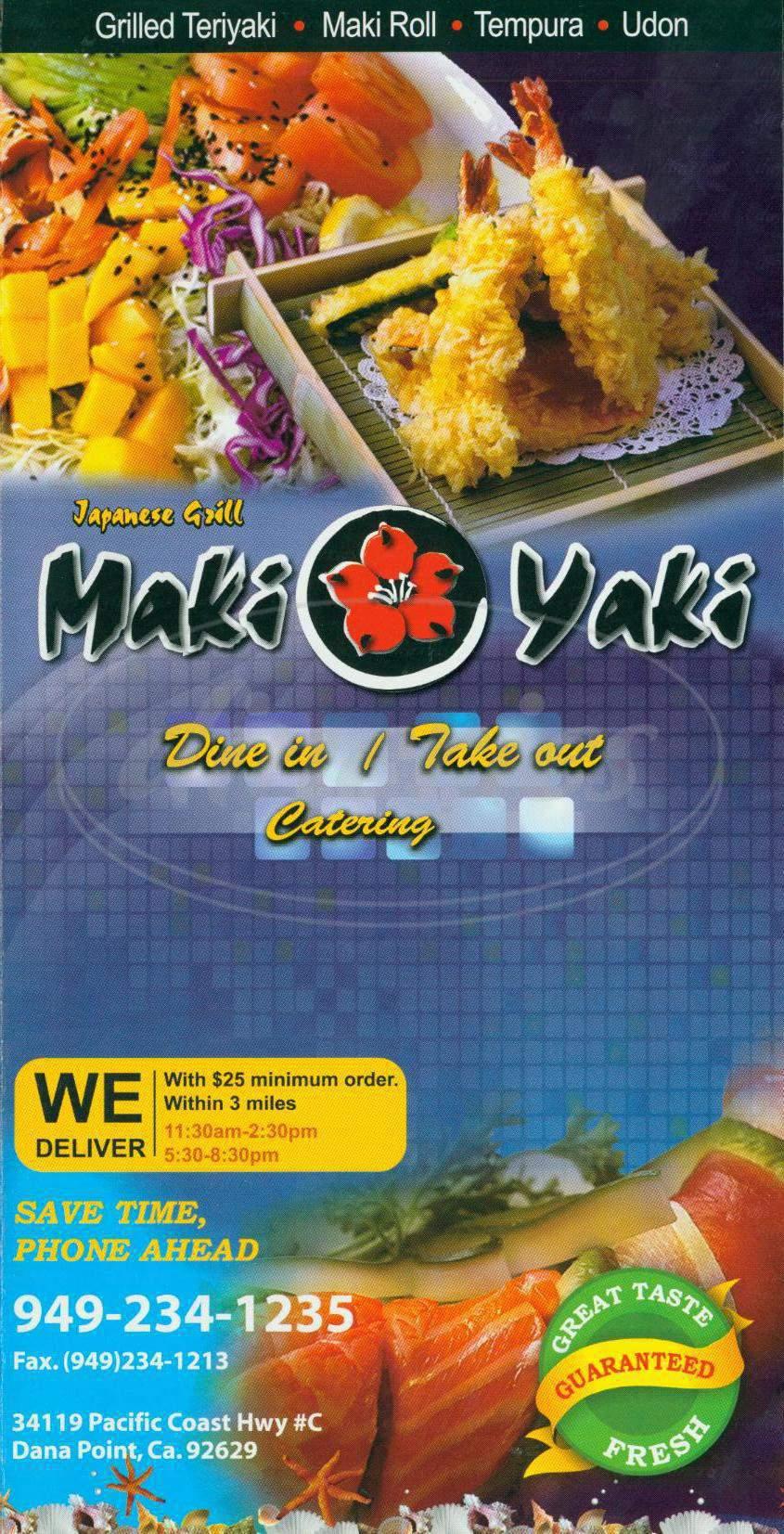 menu for Maki Yaki