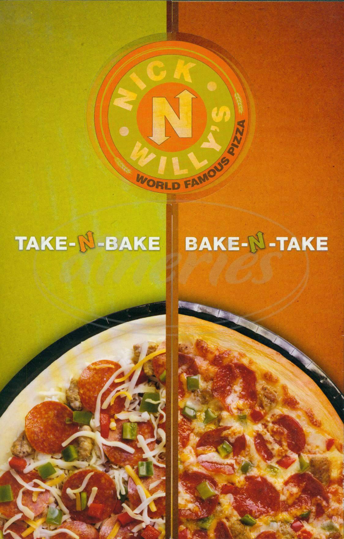 menu for Nick N Willys Pizza