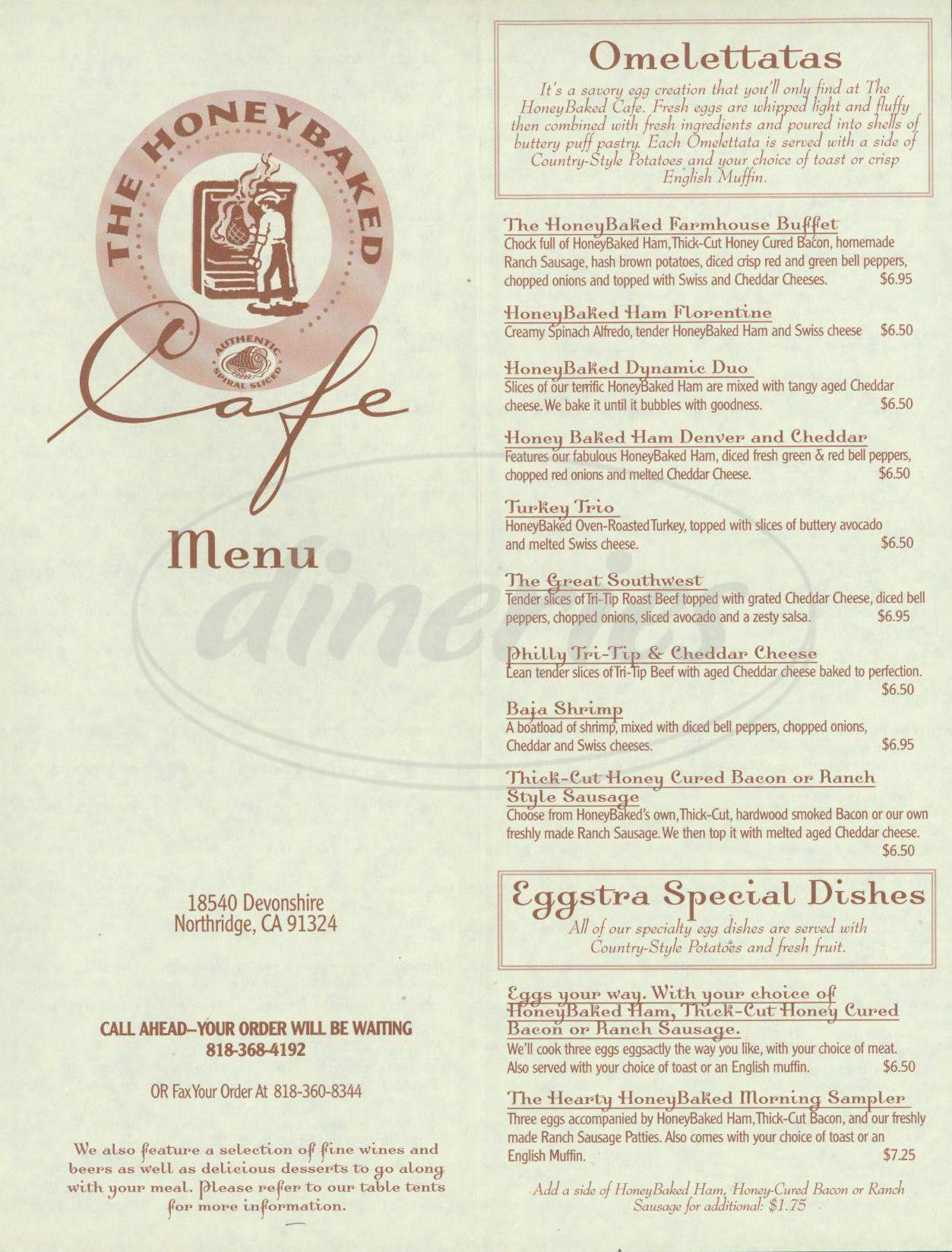menu for The Honeybaked Cafe