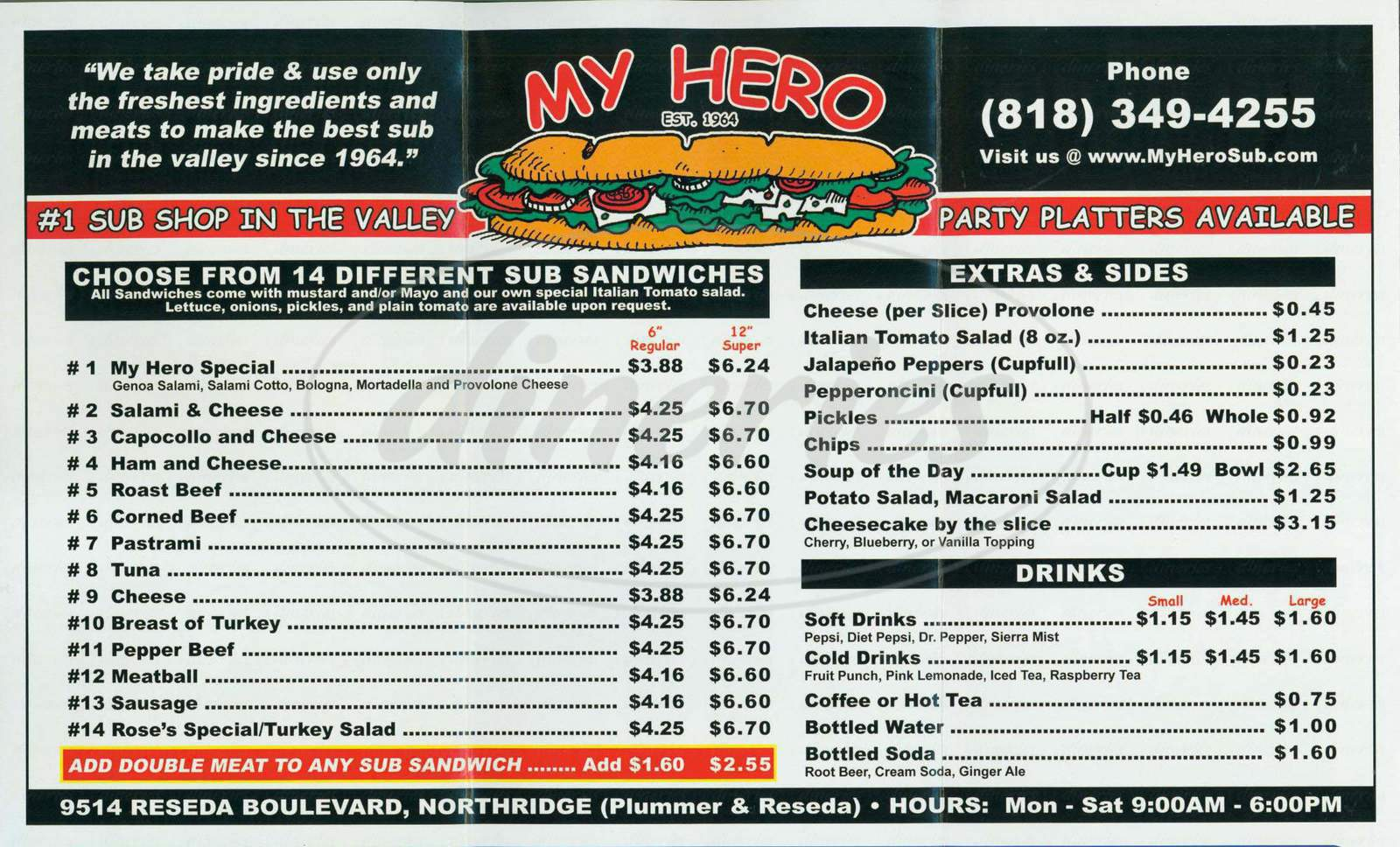 menu for My Hero