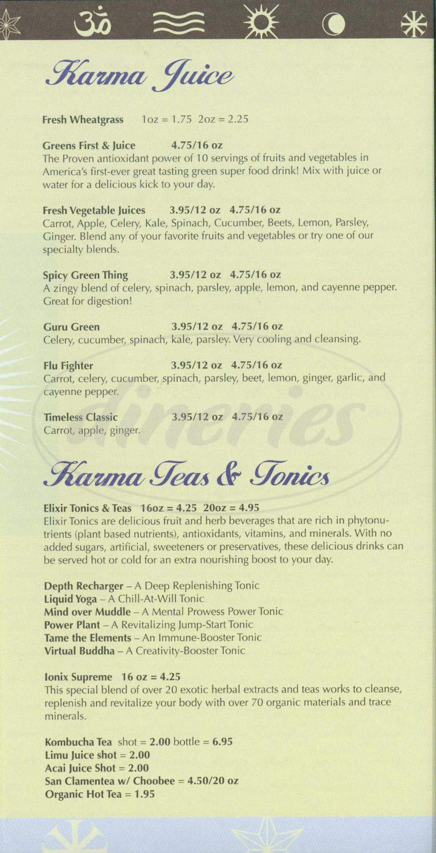 menu for Karma Juice
