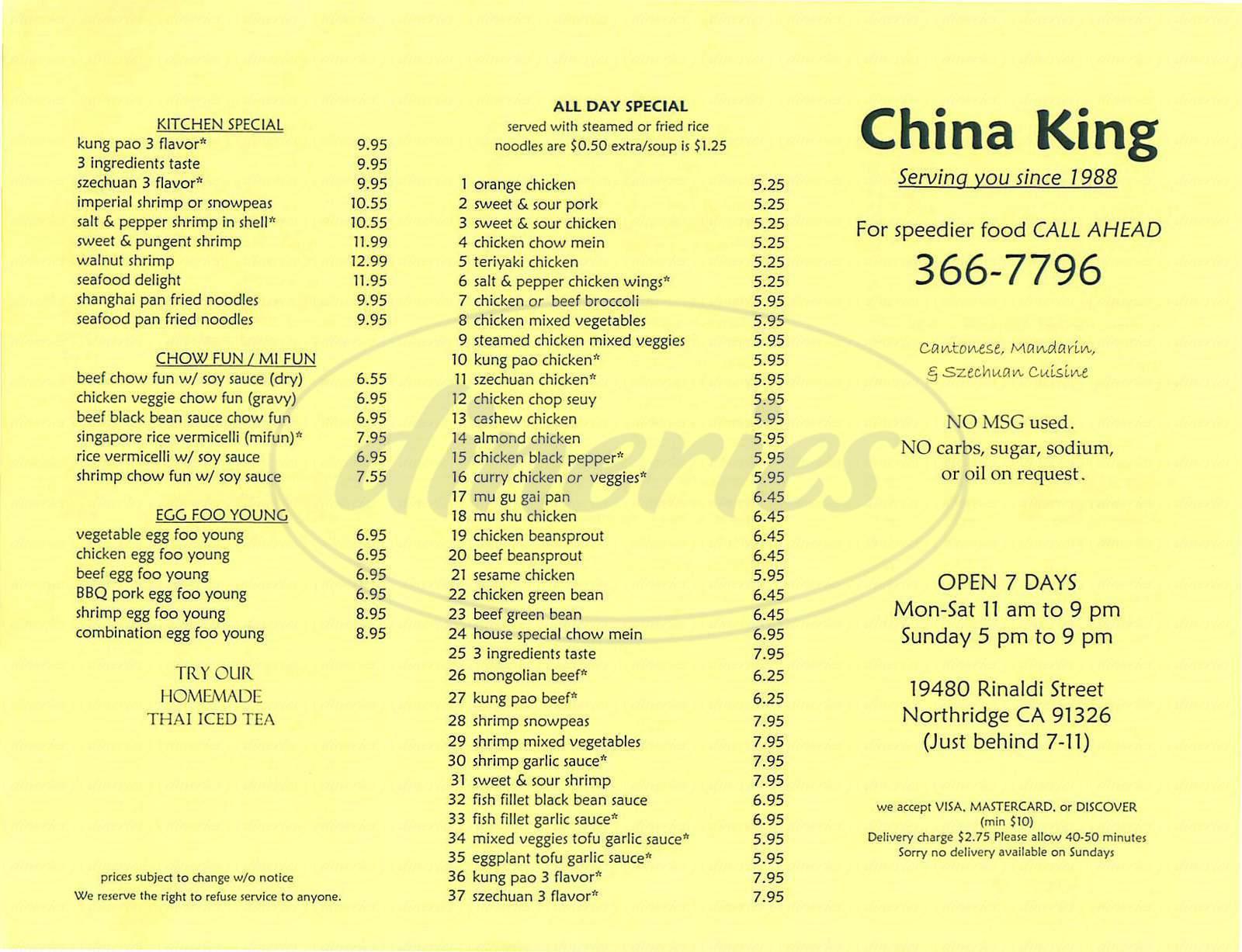 menu for China King