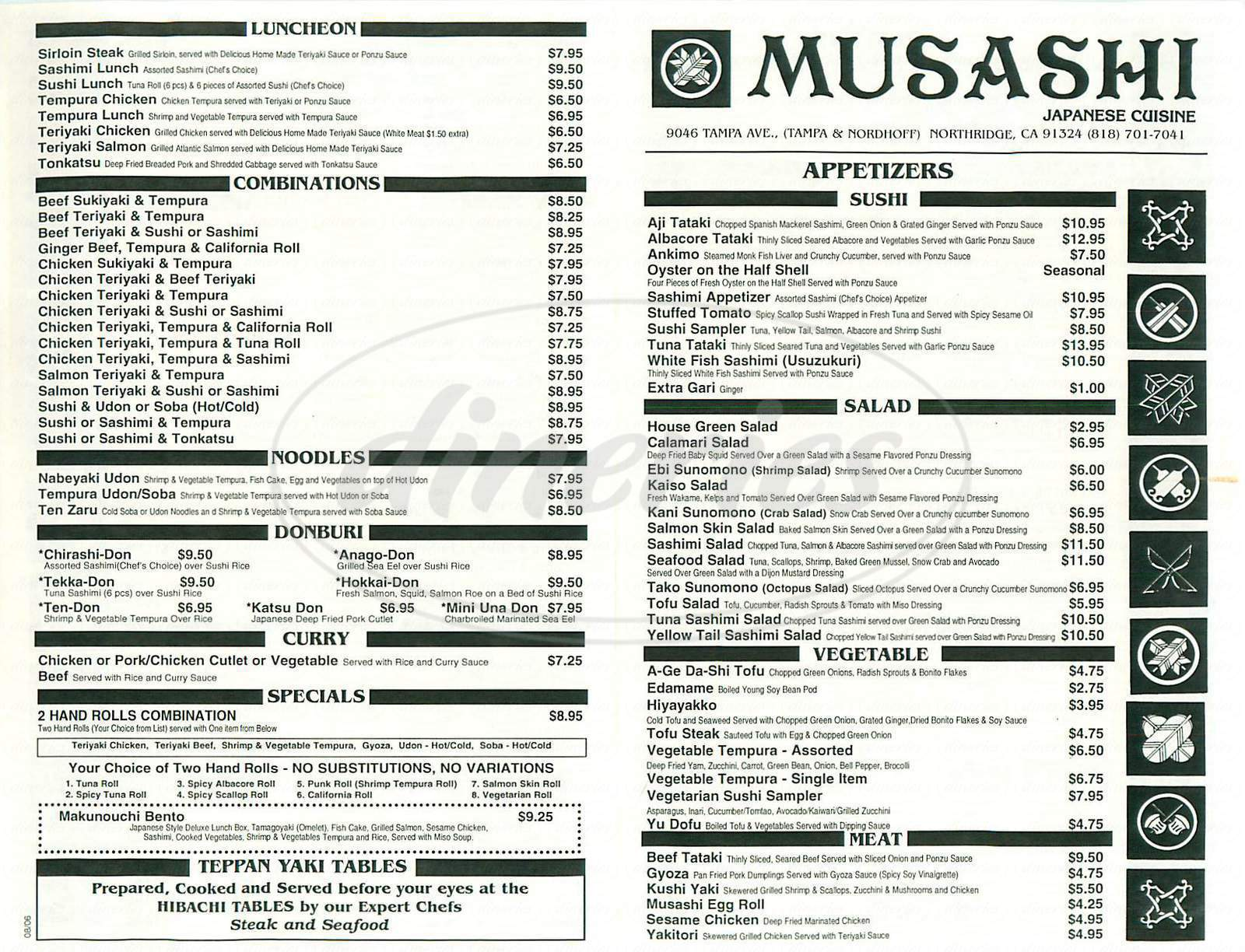 menu for Musashi