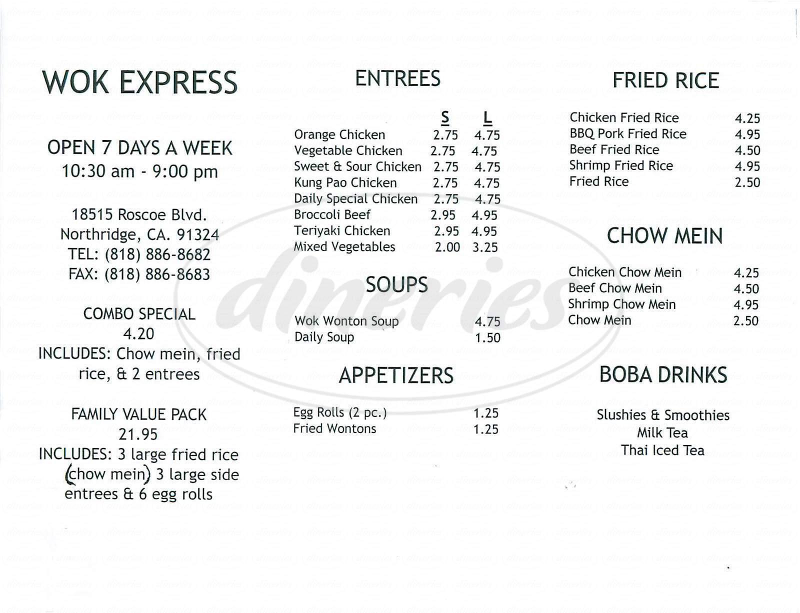 menu for Wok Express