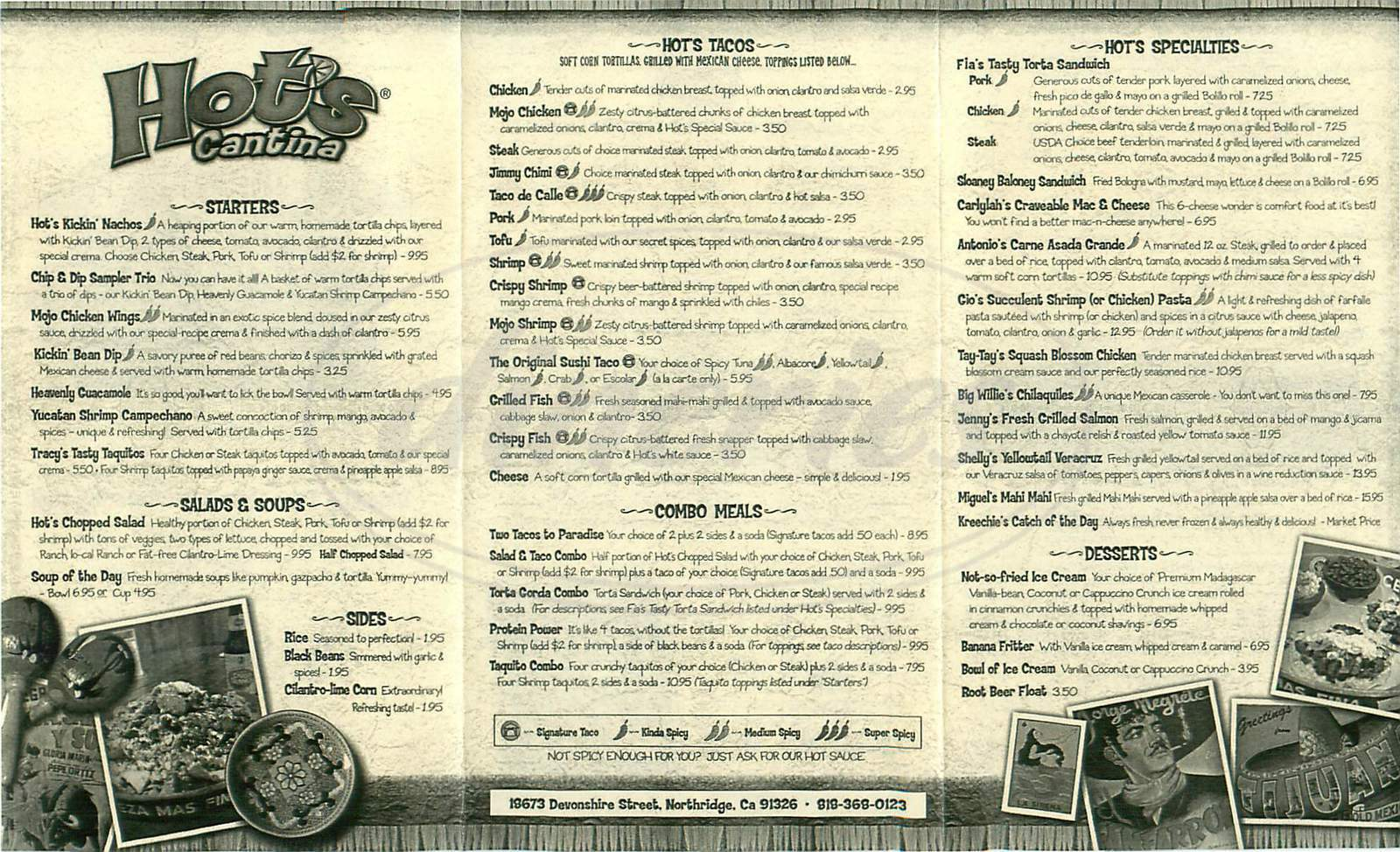 menu for Hot's Cantina