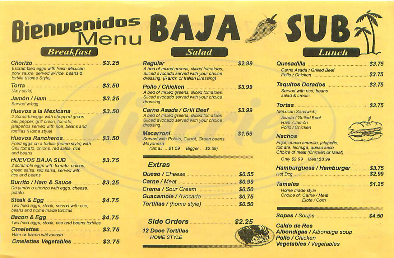 menu for Baja Sub