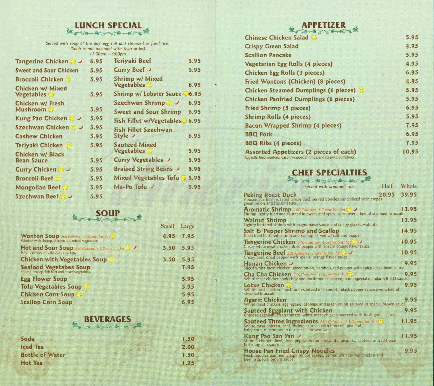menu for Kaleyard
